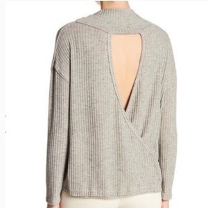NWOT ASTR THE LABEL Ribbed Open Back Sweater sz S